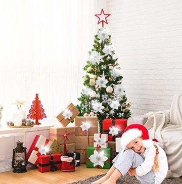 MMTX 120 Stück Christbaumschmuck mit Glitter Poinsettia künstliche Weihnachtsblumen Bögen Bell Schneeflocken kleine Krücken Clips für Weihnachtsbaumschmuck Weihnachtsdeko Fensterdeko (Silber) - 2