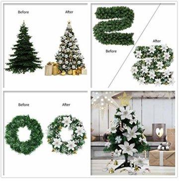 MMTX 120 Stück Christbaumschmuck mit Glitter Poinsettia künstliche Weihnachtsblumen Bögen Bell Schneeflocken kleine Krücken Clips für Weihnachtsbaumschmuck Weihnachtsdeko Fensterdeko (Silber) - 3
