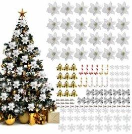 MMTX 120 Stück Christbaumschmuck mit Glitter Poinsettia künstliche Weihnachtsblumen Bögen Bell Schneeflocken kleine Krücken Clips für Weihnachtsbaumschmuck Weihnachtsdeko Fensterdeko (Silber) - 1