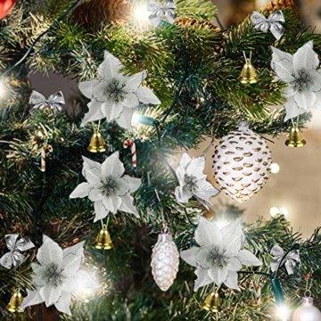 MMTX 120 Stück Christbaumschmuck mit Glitter Poinsettia künstliche Weihnachtsblumen Bögen Bell Schneeflocken kleine Krücken Clips für Weihnachtsbaumschmuck Weihnachtsdeko Fensterdeko (Silber) - 4