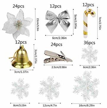MMTX 120 Stück Christbaumschmuck mit Glitter Poinsettia künstliche Weihnachtsblumen Bögen Bell Schneeflocken kleine Krücken Clips für Weihnachtsbaumschmuck Weihnachtsdeko Fensterdeko (Silber) - 5