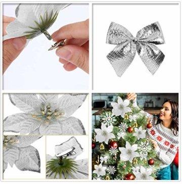 MMTX 120 Stück Christbaumschmuck mit Glitter Poinsettia künstliche Weihnachtsblumen Bögen Bell Schneeflocken kleine Krücken Clips für Weihnachtsbaumschmuck Weihnachtsdeko Fensterdeko (Silber) - 6
