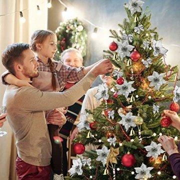 MMTX 120 Stück Christbaumschmuck mit Glitter Poinsettia künstliche Weihnachtsblumen Bögen Bell Schneeflocken kleine Krücken Clips für Weihnachtsbaumschmuck Weihnachtsdeko Fensterdeko (Silber) - 7