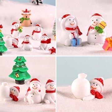 MMTX 13 Stücke Weihnachtsdeko DIY Harz Miniatur Weihnachten Dekoration, X'Mas Decor Kleine Ornamente Figuren Weihnachtsmann Weihnachtsbaum Schneemann Deko Garten Bonsai Puppenhaus Tisch Dekoration - 3