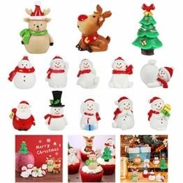 MMTX 13 Stücke Weihnachtsdeko DIY Harz Miniatur Weihnachten Dekoration, X'Mas Decor Kleine Ornamente Figuren Weihnachtsmann Weihnachtsbaum Schneemann Deko Garten Bonsai Puppenhaus Tisch Dekoration - 1
