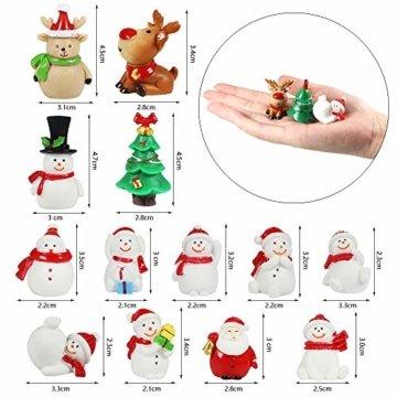 MMTX 13 Stücke Weihnachtsdeko DIY Harz Miniatur Weihnachten Dekoration, X'Mas Decor Kleine Ornamente Figuren Weihnachtsmann Weihnachtsbaum Schneemann Deko Garten Bonsai Puppenhaus Tisch Dekoration - 4