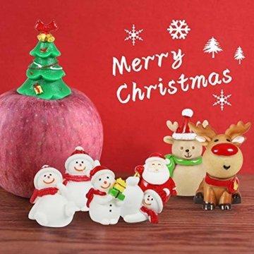 MMTX 13 Stücke Weihnachtsdeko DIY Harz Miniatur Weihnachten Dekoration, X'Mas Decor Kleine Ornamente Figuren Weihnachtsmann Weihnachtsbaum Schneemann Deko Garten Bonsai Puppenhaus Tisch Dekoration - 5