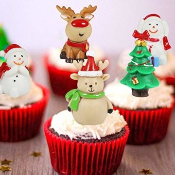 MMTX 13 Stücke Weihnachtsdeko DIY Harz Miniatur Weihnachten Dekoration, X'Mas Decor Kleine Ornamente Figuren Weihnachtsmann Weihnachtsbaum Schneemann Deko Garten Bonsai Puppenhaus Tisch Dekoration - 6