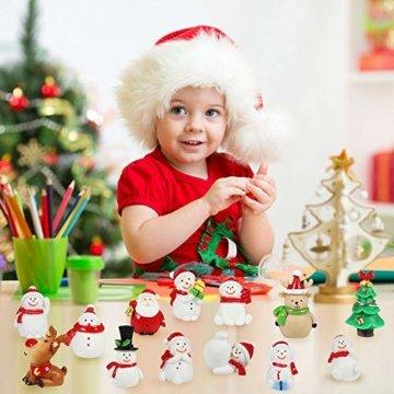 MMTX 13 Stücke Weihnachtsdeko DIY Harz Miniatur Weihnachten Dekoration, X'Mas Decor Kleine Ornamente Figuren Weihnachtsmann Weihnachtsbaum Schneemann Deko Garten Bonsai Puppenhaus Tisch Dekoration - 7