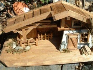 Modellhaus Holzhaus 30cm Krippe incl. 11 Krippenfiguren - 6