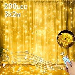 Molbory LED USB Lichtervorhang 3m x 2m, 200 LEDs Lichterketten Vorhang mit Fernbedienung & Timer 8 Lichtmodelle und 4 Musiksteuerungsmodi für Partydekoration deko,Innenbeleuchtung,Warmweiß - 1