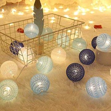 Molbory Lichterkette Baumwollkugeln USB, 3,5M 20 LED Kugel Lichterketten für Innen Deko, LED Lichterkette mit Cotton Balls, Lichterkette Kugeln für Weihnachten, Hochzeit, Party, Zimmer, Vorhang - 2