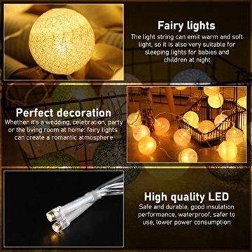 Molbory Lichterkette Baumwollkugeln USB, 3,5M 20 LED Kugel Lichterketten für Innen Deko, LED Lichterkette mit Cotton Balls, Lichterkette Kugeln für Weihnachten, Hochzeit, Party, Zimmer, Vorhang - 3