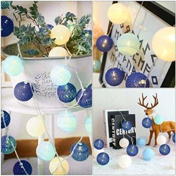 Molbory Lichterkette Baumwollkugeln USB, 3,5M 20 LED Kugel Lichterketten für Innen Deko, LED Lichterkette mit Cotton Balls, Lichterkette Kugeln für Weihnachten, Hochzeit, Party, Zimmer, Vorhang - 4
