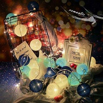 Molbory Lichterkette Baumwollkugeln USB, 3,5M 20 LED Kugel Lichterketten für Innen Deko, LED Lichterkette mit Cotton Balls, Lichterkette Kugeln für Weihnachten, Hochzeit, Party, Zimmer, Vorhang - 6