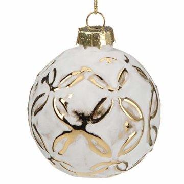 Multistore 2002 12 Stück Weihnachtskugeln Ø6cm 2 Sorten, Weiß und Gold, Glaskugeln Weihnachtsbaumkugeln Christbaumkugeln Christbaumschmuck Baumschmuck Dekokugeln - 2
