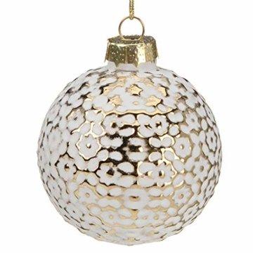 Multistore 2002 12 Stück Weihnachtskugeln Ø6cm 2 Sorten, Weiß und Gold, Glaskugeln Weihnachtsbaumkugeln Christbaumkugeln Christbaumschmuck Baumschmuck Dekokugeln - 4
