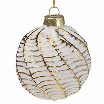 Multistore 2002 12 Stück Weihnachtskugeln Ø6cm 2 Sorten, Weiß und Gold, Glaskugeln Weihnachtsbaumkugeln Christbaumkugeln Christbaumschmuck Baumschmuck Dekokugeln - 6