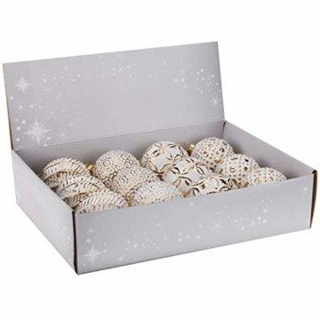 Multistore 2002 12 Stück Weihnachtskugeln Ø8cm 4 Sorten, Weiß und Gold, Glaskugeln Weihnachtsbaumkugeln Christbaumkugeln Christbaumschmuck Baumschmuck Dekokugeln - 6