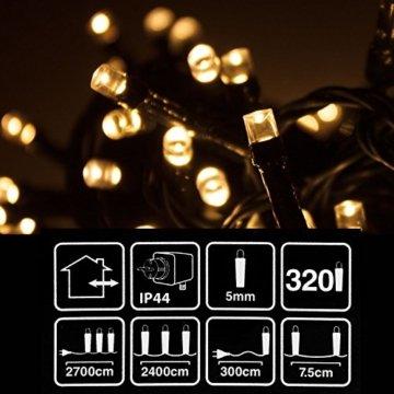 Multistore 2002 LED Lichterkette mit 320 LEDs Warmweiß | Beleuchtung für Innen & Außen | Garten Dekoleuchte Weihnachtsdekoration (Gesamtlänge: ca. 27 m) - 4