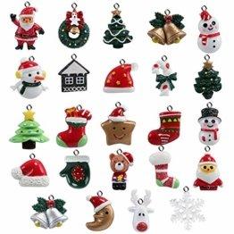 Naler 24-teilig Weihnachtsanhänger Christbaum Deko Weihnachtsbaumschmuck für Adventkalender - 1