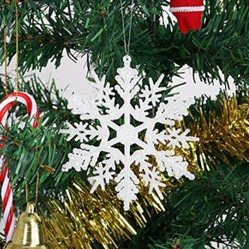 Naler 24 x Schneeflocken Weihnachten Deko für Weihnachtsbaum Glitzer Weiß Weihnachtsbaumschmuck - 3