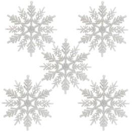 Naler 24 x Schneeflocken Weihnachten Deko für Weihnachtsbaum Glitzer Weiß Weihnachtsbaumschmuck - 1