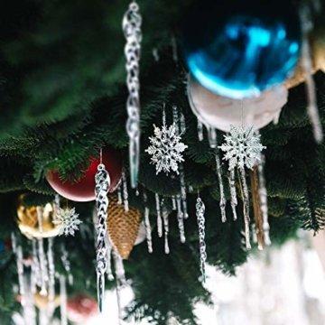Naler 30-teilig Schneeflocken Eiszapfen Weihnachtsdeko Christbaumschmuck aus Acryl für Weihnachten Winter Dekoration - 3