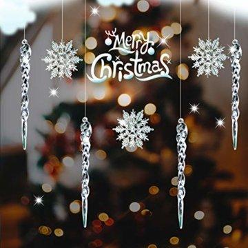 Naler 30-teilig Schneeflocken Eiszapfen Weihnachtsdeko Christbaumschmuck aus Acryl für Weihnachten Winter Dekoration - 4