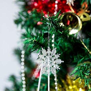 Naler 30-teilig Schneeflocken Eiszapfen Weihnachtsdeko Christbaumschmuck aus Acryl für Weihnachten Winter Dekoration - 6