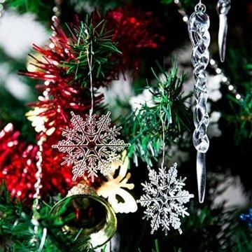 Naler 30-teilig Schneeflocken Eiszapfen Weihnachtsdeko Christbaumschmuck aus Acryl für Weihnachten Winter Dekoration - 7