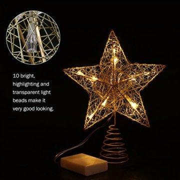 NICEXMAS 9.8 Zoll Goldener Stern-Baum-Deckel mit LED-Lichtern für Weihnachtsbaum-Dekoration - 3