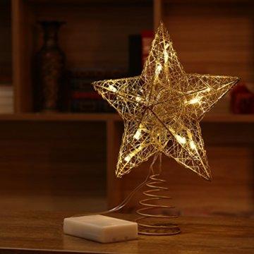 NICEXMAS 9.8 Zoll Goldener Stern-Baum-Deckel mit LED-Lichtern für Weihnachtsbaum-Dekoration - 4