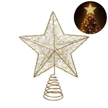 NICEXMAS 9.8 Zoll Goldener Stern-Baum-Deckel mit LED-Lichtern für Weihnachtsbaum-Dekoration - 1