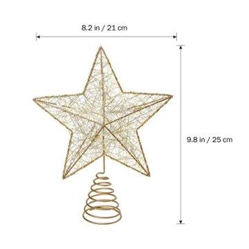 NICEXMAS 9.8 Zoll Goldener Stern-Baum-Deckel mit LED-Lichtern für Weihnachtsbaum-Dekoration - 6
