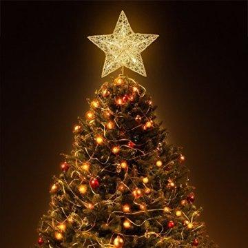NICEXMAS 9.8 Zoll Goldener Stern-Baum-Deckel mit LED-Lichtern für Weihnachtsbaum-Dekoration - 8
