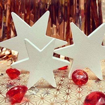 Oblique Unique® Holz Sterne 3er Set Weiß Holzdeko Weihnachtsdeko Tischdeko Weihnachten Echtholz - 2