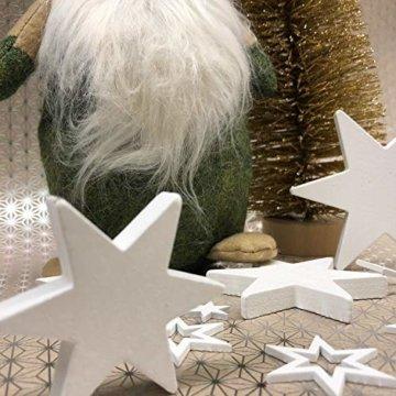 Oblique Unique® Holz Sterne 3er Set Weiß Holzdeko Weihnachtsdeko Tischdeko Weihnachten Echtholz - 4