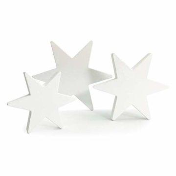 Oblique Unique® Holz Sterne 3er Set Weiß Holzdeko Weihnachtsdeko Tischdeko Weihnachten Echtholz - 1
