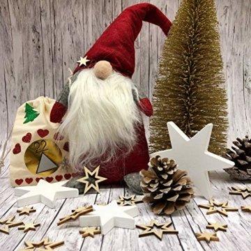 Oblique Unique® Holz Sterne 3er Set Weiß Holzdeko Weihnachtsdeko Tischdeko Weihnachten Echtholz - 5