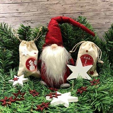 Oblique Unique® Holz Sterne 3er Set Weiß Holzdeko Weihnachtsdeko Tischdeko Weihnachten Echtholz - 6