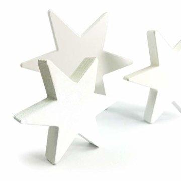Oblique Unique® Holz Sterne 3er Set Weiß Holzdeko Weihnachtsdeko Tischdeko Weihnachten Echtholz - 7