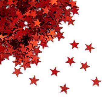 Oblique Unique® Stern Konfetti Rot Über 500 STK. Streu Deko Tischdeko für Weihnachten Geburtstag Fasching Karneval Party - 1