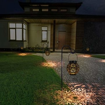 OOWOLF Solar Laterne,Solarlaterne Garten 500mAh IP44 wasserdicht, LED Solar Laterne für außen warmweiß Edelstahl+ABS,solarlaterne hängend für Deko Weihnachten Garten Verande Hof Terrase(schwarz) - 5