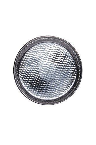 Orientalisches rundes Tablett Schale aus Metall Fidan 34cm groß Silber   Orient Dekoschale mit hoher Rand   Marokkanisches Serviertablett Rund   Orientalische Silberne Deko auf dem gedeckten Tisch - 2