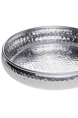 Orientalisches rundes Tablett Schale aus Metall Fidan 34cm groß Silber | Orient Dekoschale mit hoher Rand | Marokkanisches Serviertablett Rund | Orientalische Silberne Deko auf dem gedeckten Tisch - 3