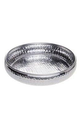 Orientalisches rundes Tablett Schale aus Metall Fidan 34cm groß Silber | Orient Dekoschale mit hoher Rand | Marokkanisches Serviertablett Rund | Orientalische Silberne Deko auf dem gedeckten Tisch - 1