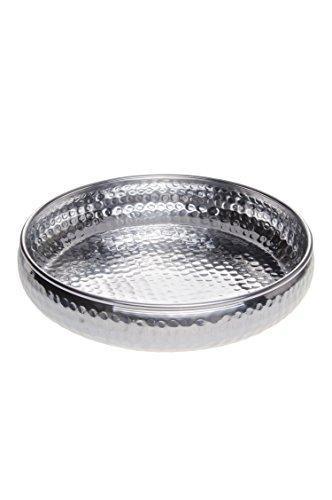 Orientalisches rundes Tablett Schale aus Metall Fidan 34cm groß Silber   Orient Dekoschale mit hoher Rand   Marokkanisches Serviertablett Rund   Orientalische Silberne Deko auf dem gedeckten Tisch - 1