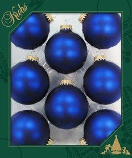 ORIGINAL LAUSCHAER Christbaumschmuck - 8er Set Kugeln Uni matt Satin königsblau, 6,7 cm, mit goldenem Krönchen + 50 Schnellaufhänger in Gold GRATIS zu Ihrer Bestellung dazu ! - 1