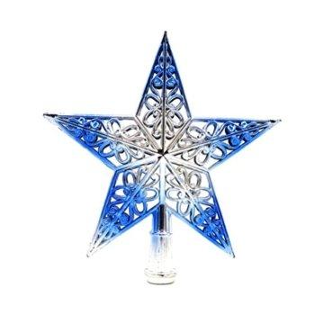 OULII Weihnachtsbaumspitze Stern Baumschmuck Glitzernde (Silbrig Blau) - 1